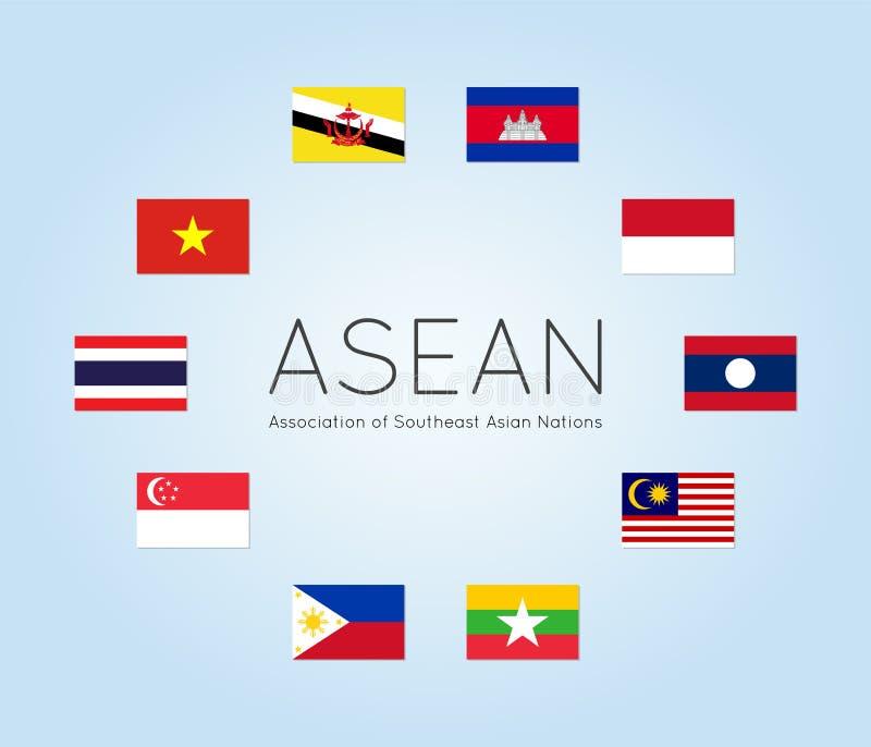 Vektorillustration av ASEAN-landsflaggor, lägenhetstil stock illustrationer