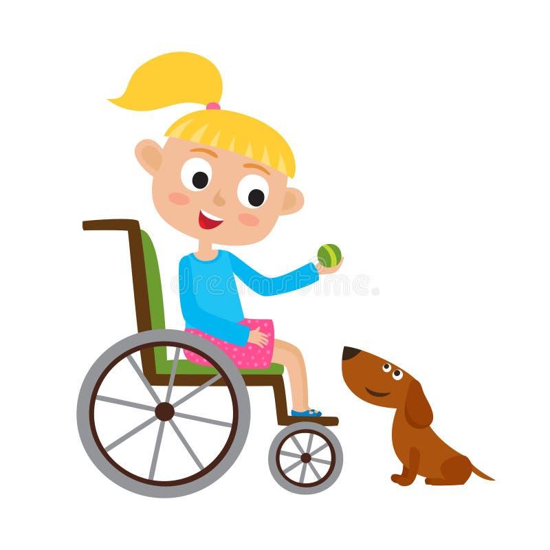 Vektorillustration av att le den lilla blondy flickan på rullstolen vektor illustrationer