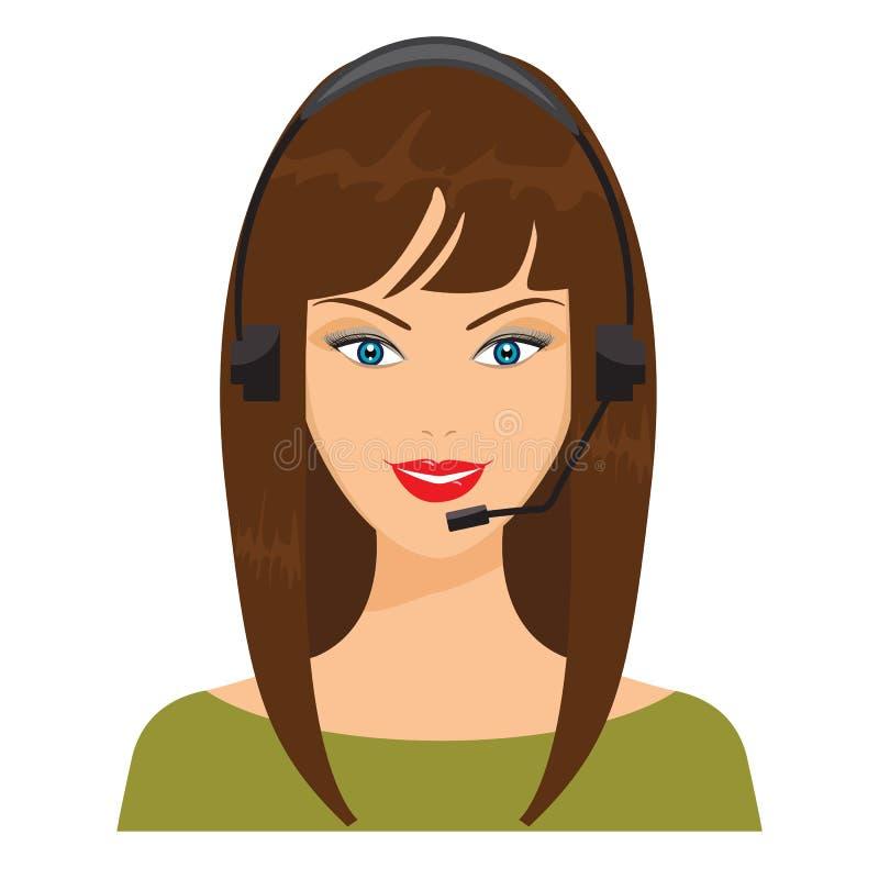 Vektorillustration av att le telefonisten trevlig kvinna vektor illustrationer