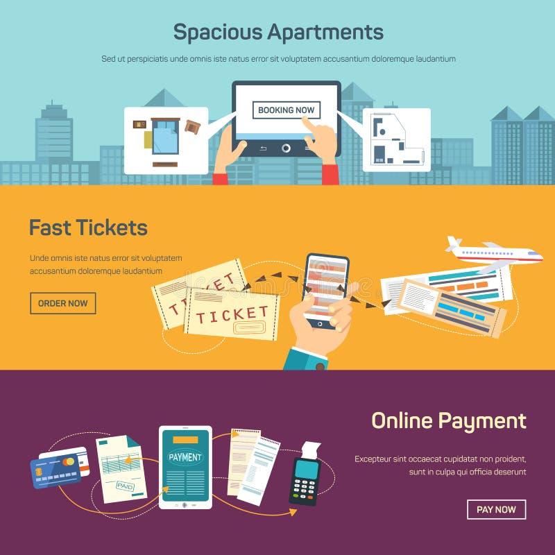Vektorillustration av att reservera biljetter direktanslutet stock illustrationer