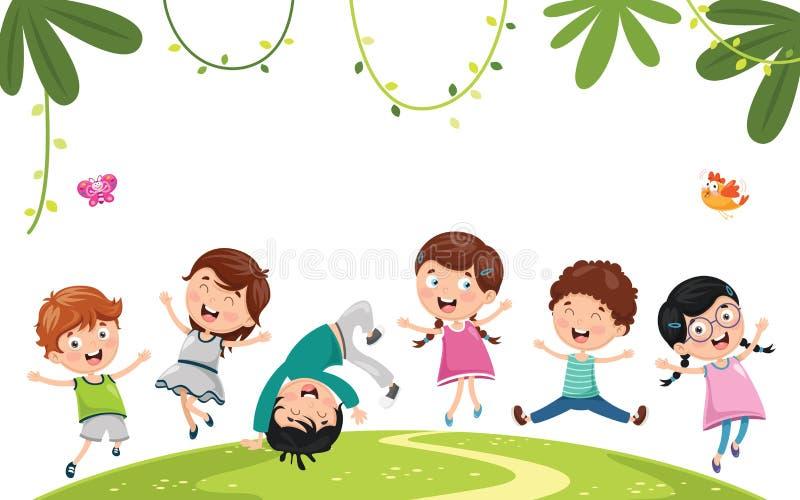 Vektorillustration av att spela för ungar royaltyfri illustrationer