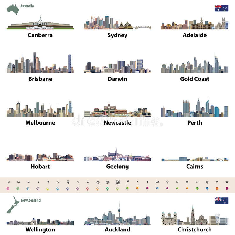 Vektorillustration av australiska och nyazeeländska stadshorisonter Översikt och flagga av Australien och Nya Zeeland stock illustrationer