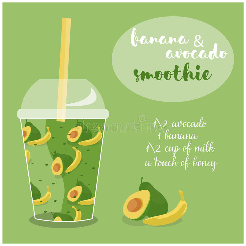 Vektorillustration av avokado- och bananSmoothiereceptet med ingredienser stock illustrationer