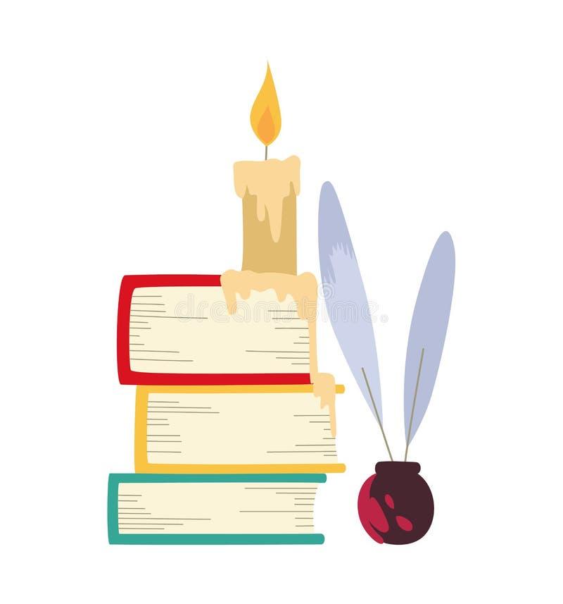 Vektorillustration av böcker, stearinljuset och att skriva för färg fjäderpennan stock illustrationer