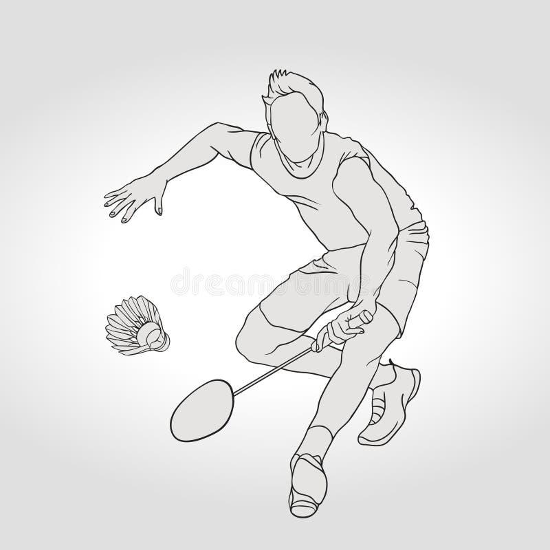 Vektorillustration av badmintonspelaren Hand vektor illustrationer