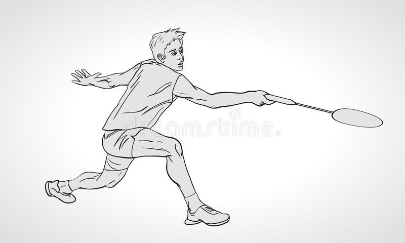 Vektorillustration av badmintonspelaren Hand stock illustrationer
