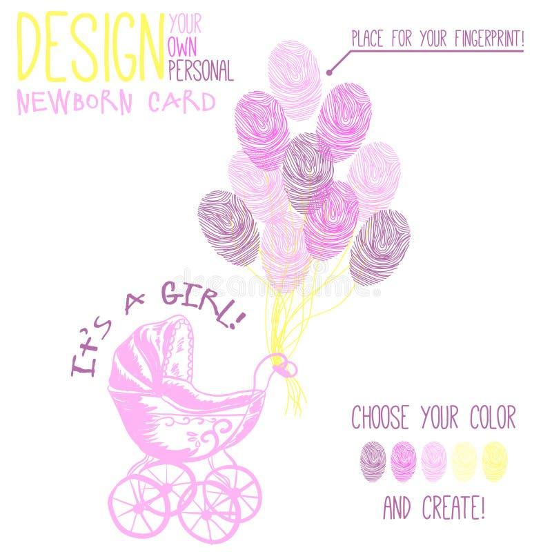 Vektorillustration av barnvagn för nyfött vektor illustrationer