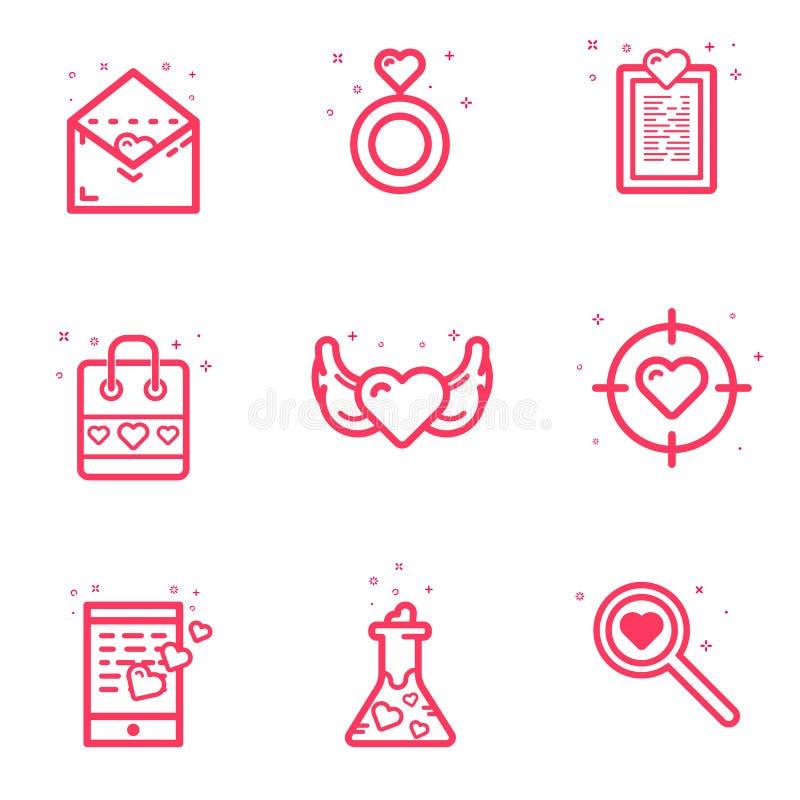 Vektorillustration av begreppet för dag för uppsättningsymbolsvalentin i den plana djärva linjen stil För symbolsförälskelse för  stock illustrationer