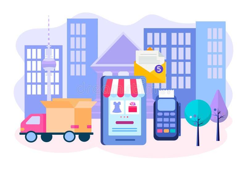 Vektorillustration av begreppet av leveransen av gods från online-lagret royaltyfri illustrationer