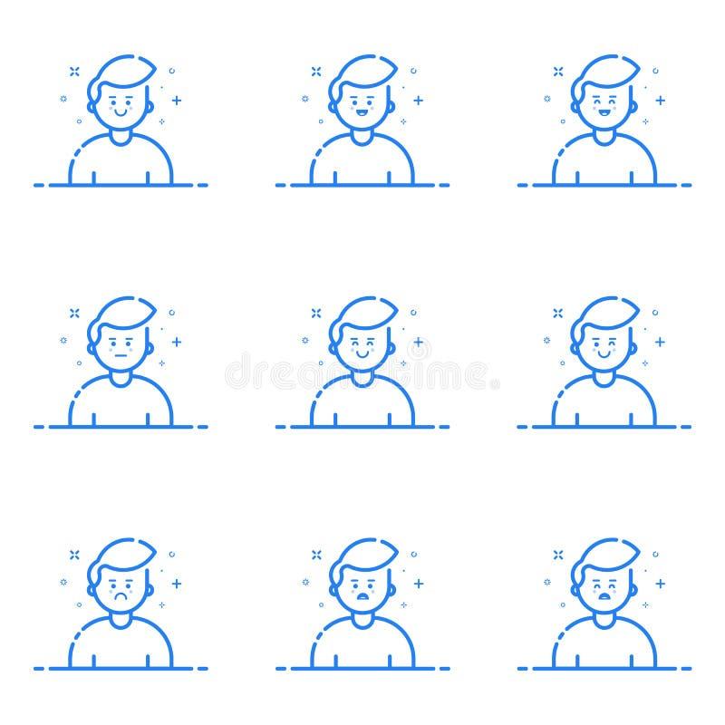 Vektorillustration av blåa symboler i den plana linjen stil Begrepp för grafisk design av Emoji och avataren vektor illustrationer