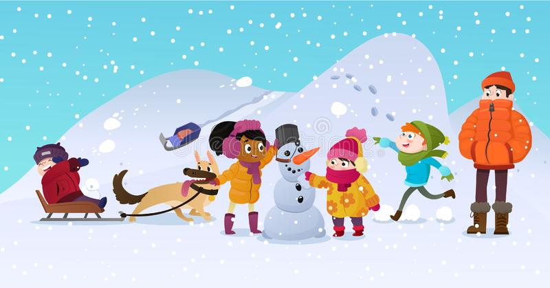 Vektorillustration av blandras- ungar som utomhus spelar Flickor och pojkar som gör snögubben i vinter, barn som in spelar stock illustrationer