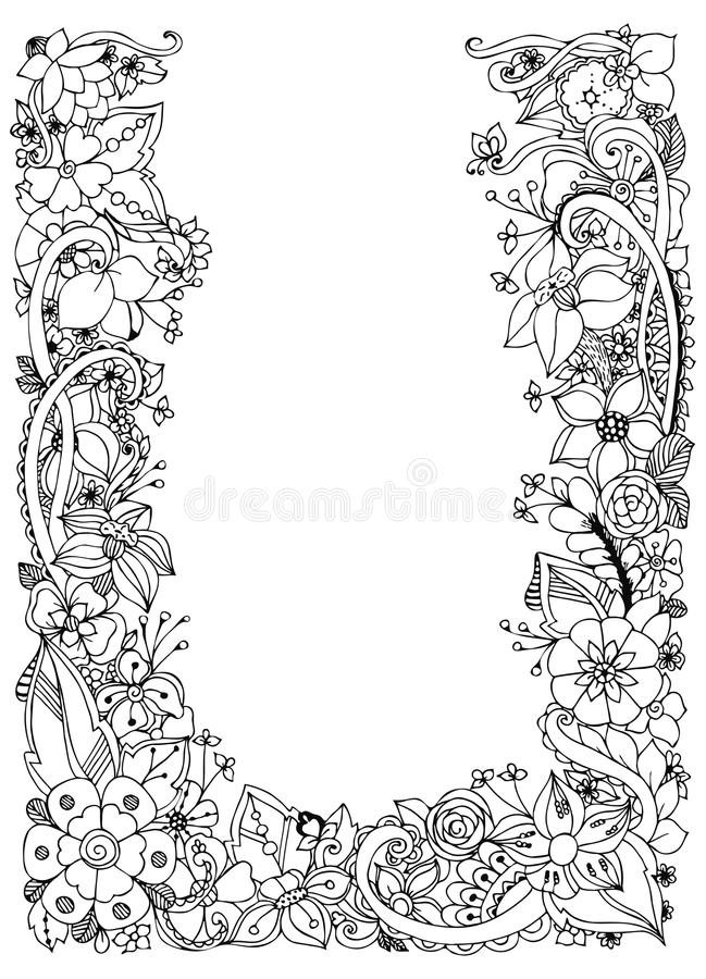 Vektorillustration av blom- ramzentangle som klottrar Zenart klotter, blommor, fjärilar, delikat som är härliga vektor illustrationer