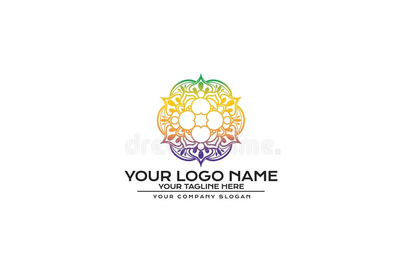 Vektorillustration av blomman Mandala Logo Design stock illustrationer