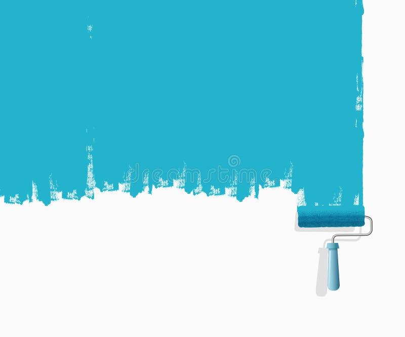 Vektorillustration av borsten för målarfärgrulle med blå målarfärg och målad väggtextur - Mappen f?r vektorn stock illustrationer