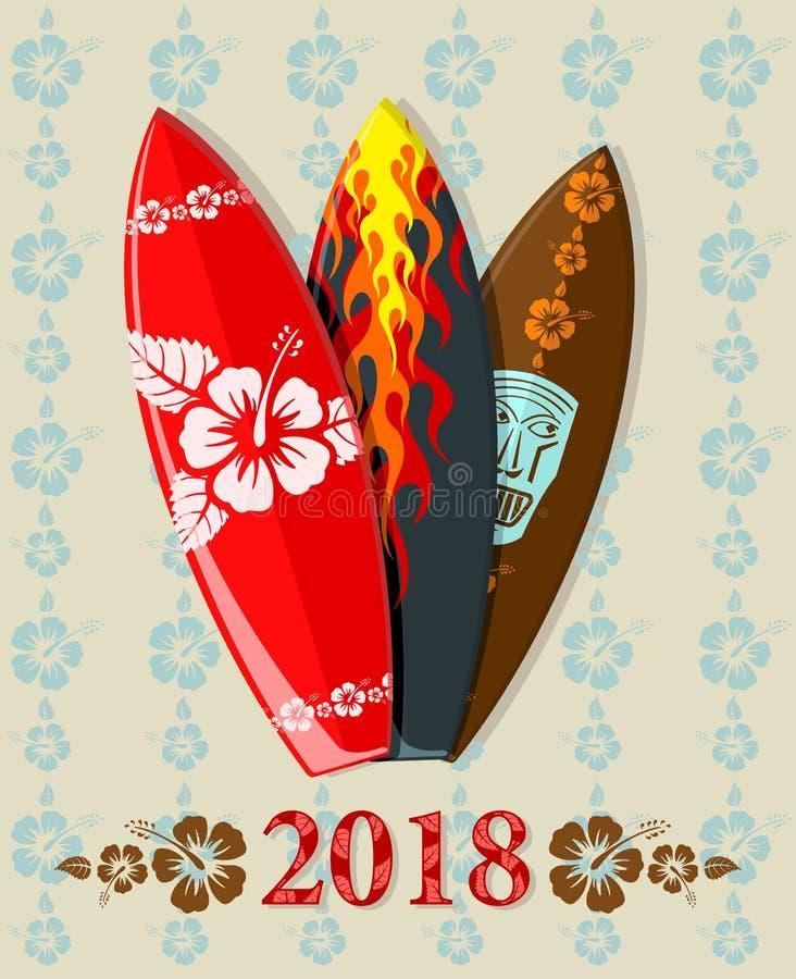 Vektorillustration av bränningbräden med text 2018 fotografering för bildbyråer