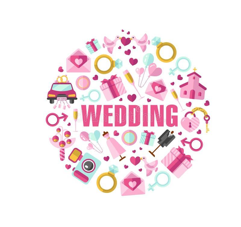 Vektorillustration av bröllop stock illustrationer