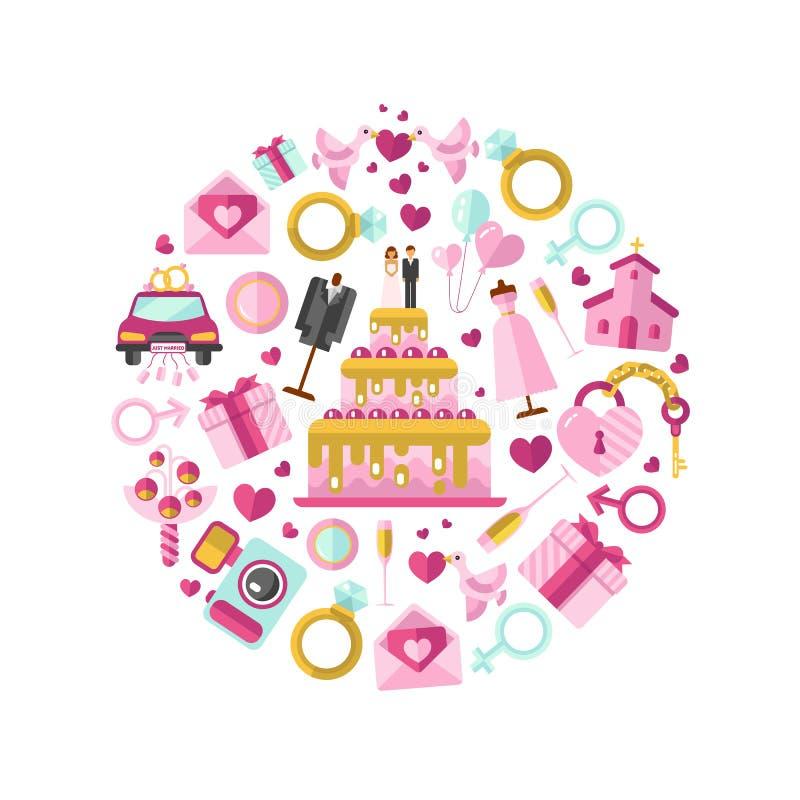 Vektorillustration av bröllop royaltyfri illustrationer