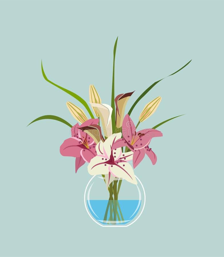 Vektorillustration av buketten av blommor royaltyfri illustrationer