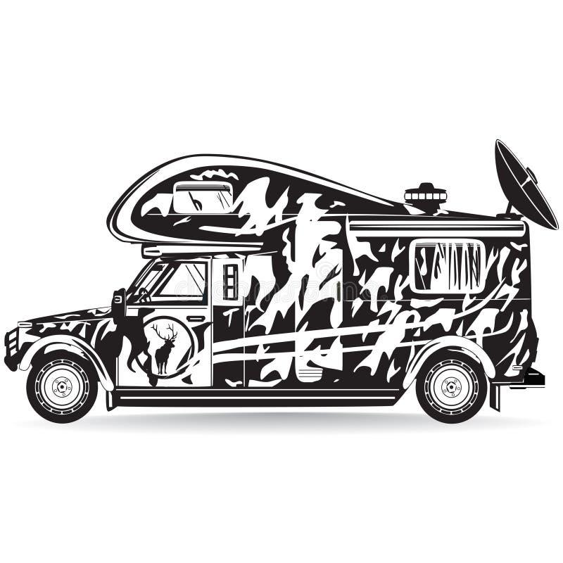 Vektorillustration av camparebilen i plan stil royaltyfri illustrationer
