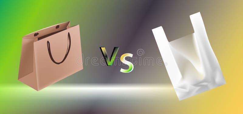 Vektorillustration av cellofan och pappers- p?sar av konfrontation VS vektor illustrationer