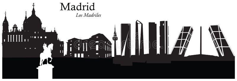 Vektorillustration av cityscapehorisont av Madrid, Spanien vektor illustrationer