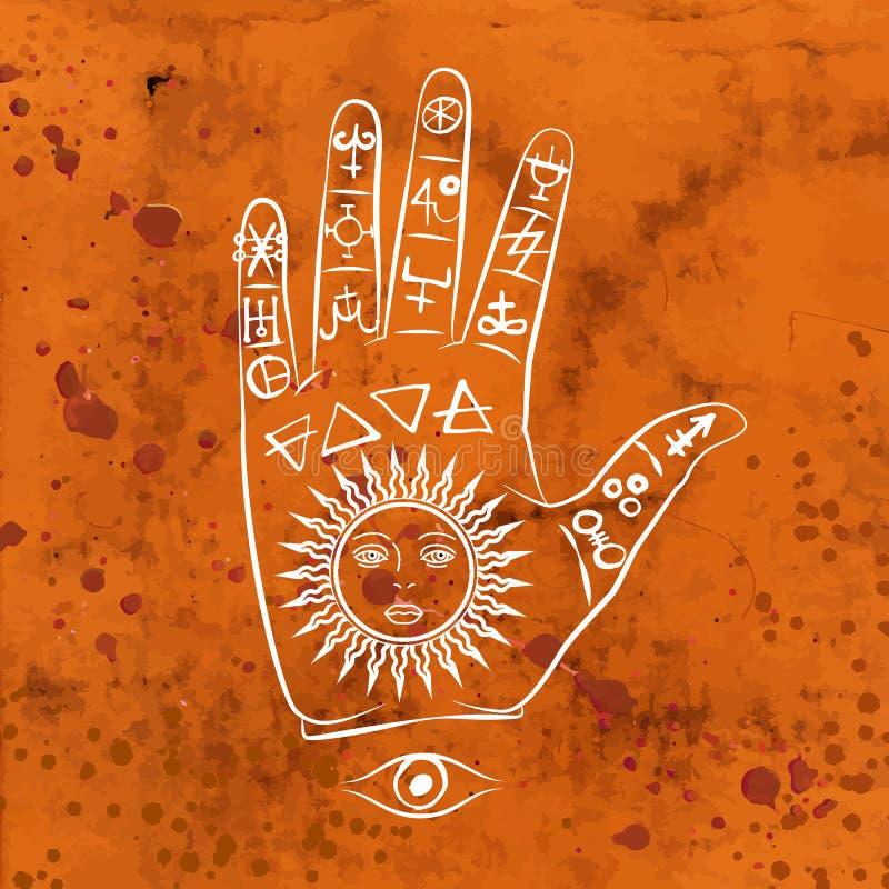 Vektorillustration av den öppna handen med soltatueringen royaltyfri illustrationer