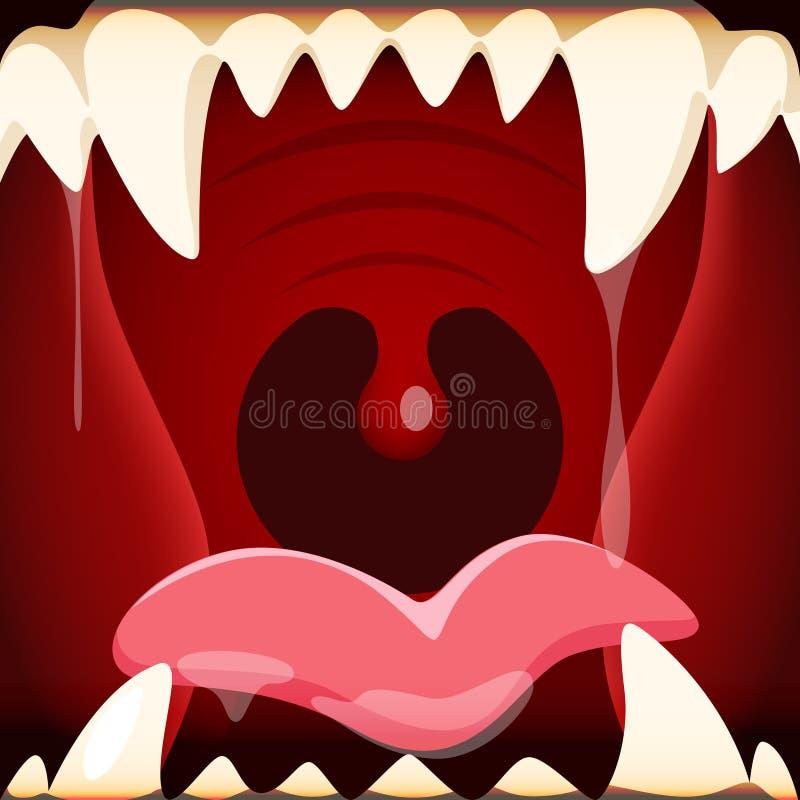 Vektorillustration av den öppna munnen för tecknad film med ett enormt och en terrif vektor illustrationer