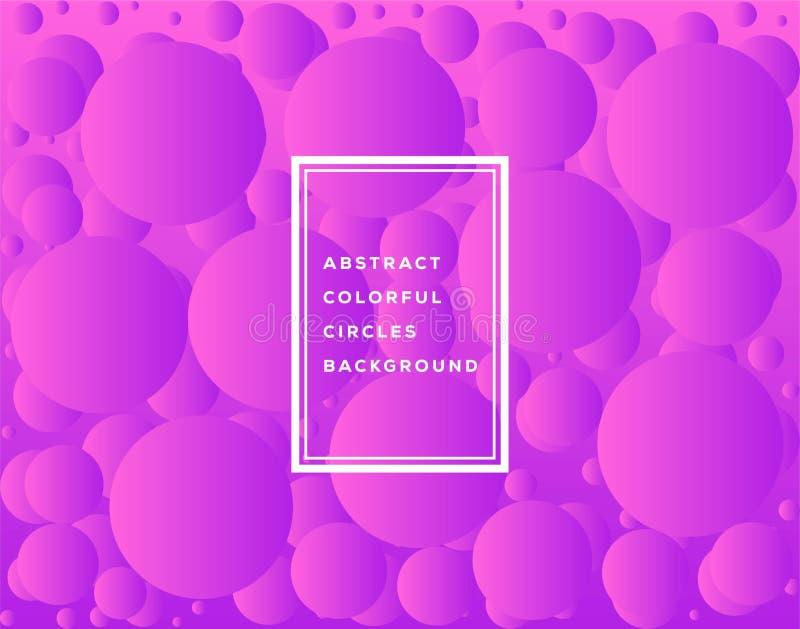 Vektorillustration av den abstrakta färgrika cirkelmalldesignen för bakgrund Glödande bubblacirkel med lutning på vit stock illustrationer