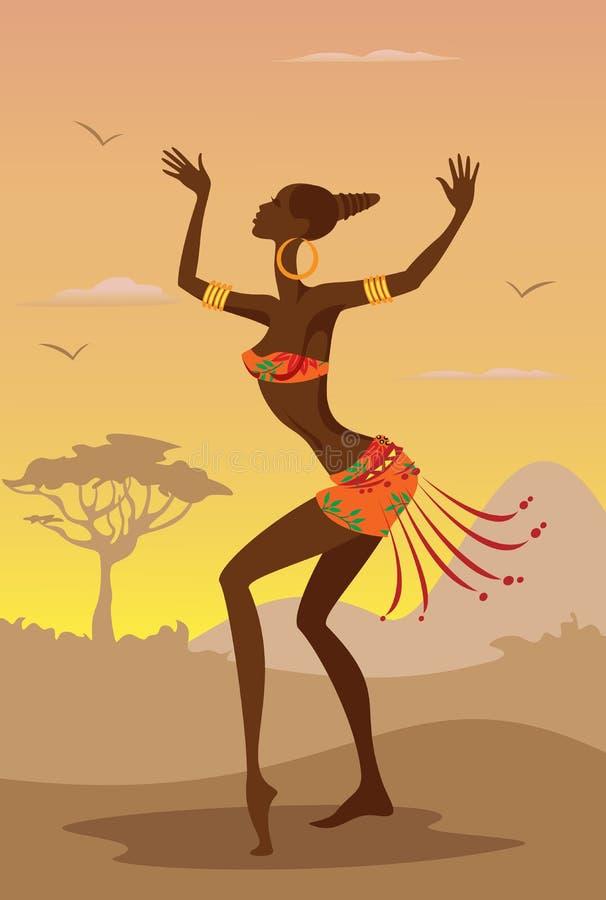 Vektorillustration av den afrikanska kvinnan vektor illustrationer