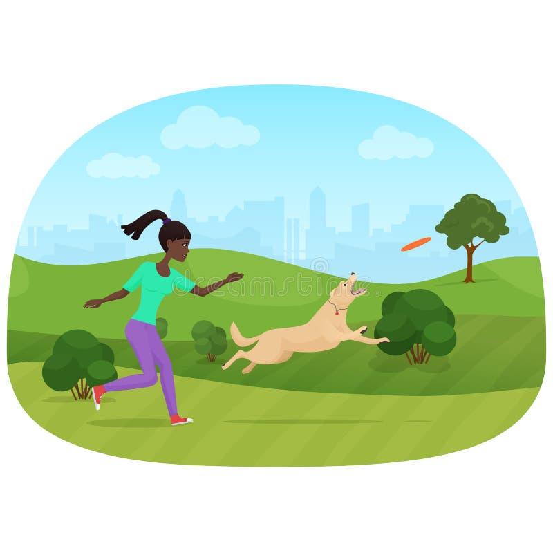 Vektorillustration av den afrikanska kvinnan som spelar med hunden i parkera Frisbeesport vektor illustrationer