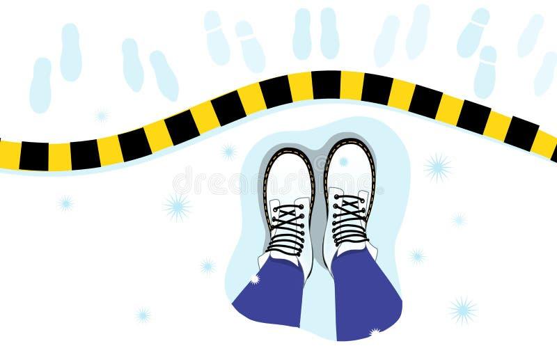 Vektorillustration av den bästa sikten av de kvinnliga benen, kängor på snön, band, fotspår royaltyfri illustrationer