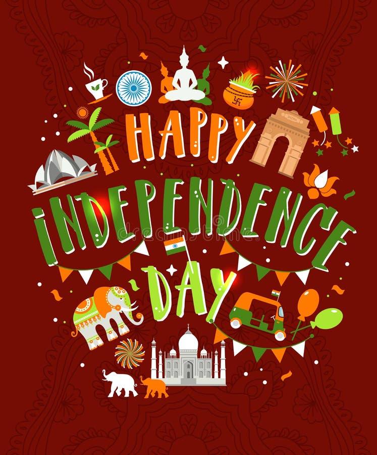 Vektorillustration av den berömda monumentet av Indien i indisk bakgrund för 15th August Happy Independence Day av Indien royaltyfri illustrationer