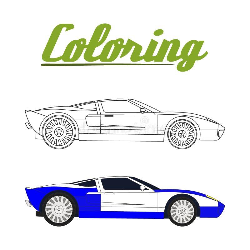 Vektorillustration av den bil- färgläggningboken för sport stock illustrationer