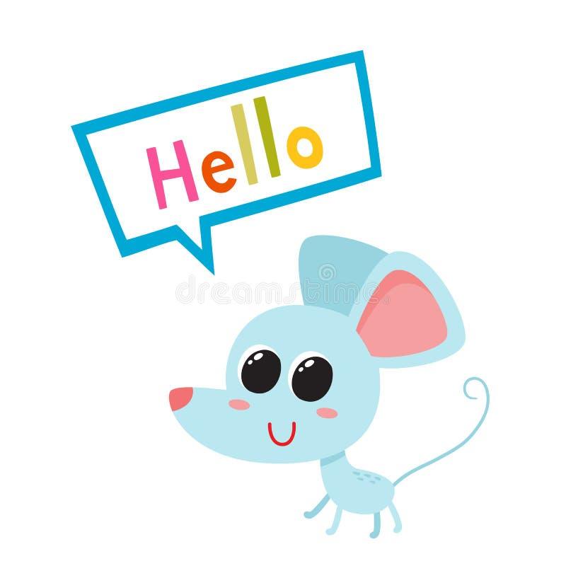 Vektorillustration av den blåa roliga musen för tecknad film som isoleras på vit bakgrund stock illustrationer