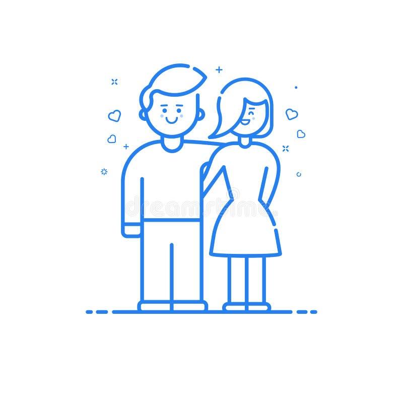 Vektorillustration av den blåa symbolen i den plana linjen stil Linjär blå gullig och lycklig pojke och flicka royaltyfri illustrationer