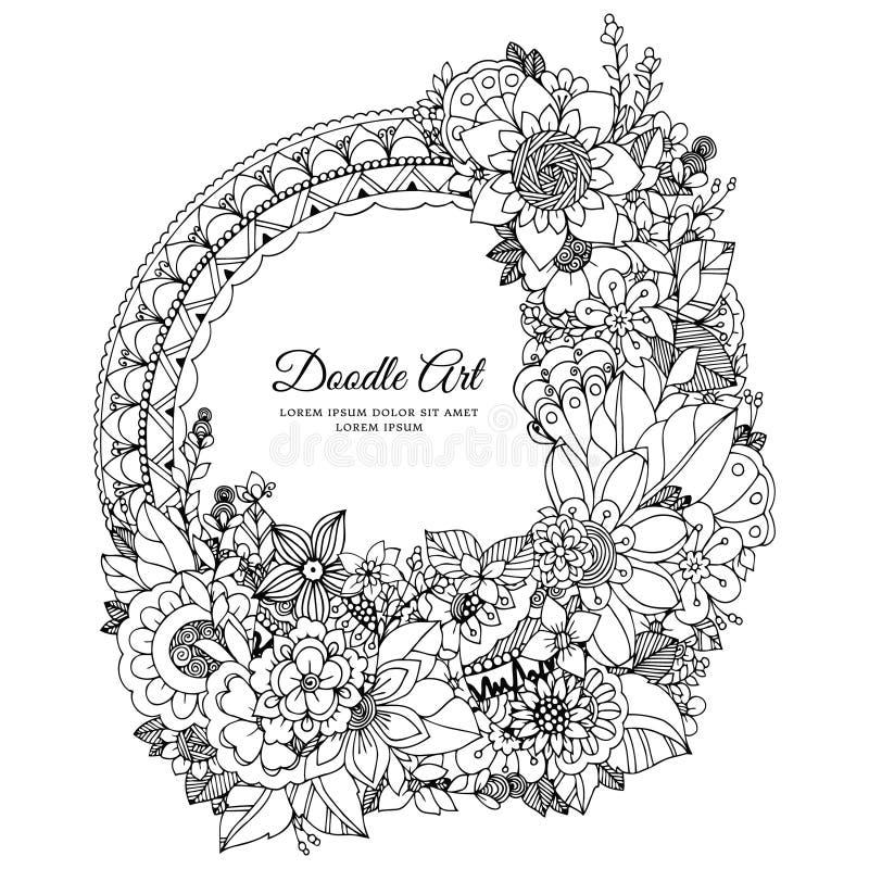 Vektorillustration av den blom- ramen Zen Tangle Dudlart Anti-spänning för färgläggningbok för vuxna människor royaltyfri illustrationer