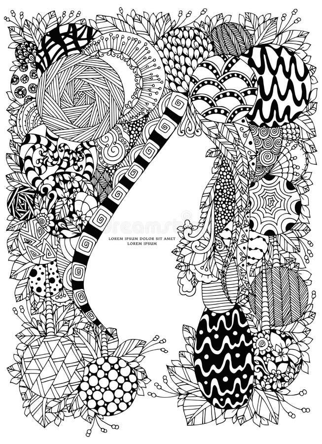 Vektorillustration av den blom- ramen Zen Tangle Dudlart Anti-spänning för färgläggningbok för vuxna människor Färga sidan Svart  stock illustrationer