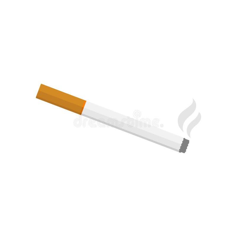 Vektorillustration av den brinnande cigaretten med rök Plan design stock illustrationer