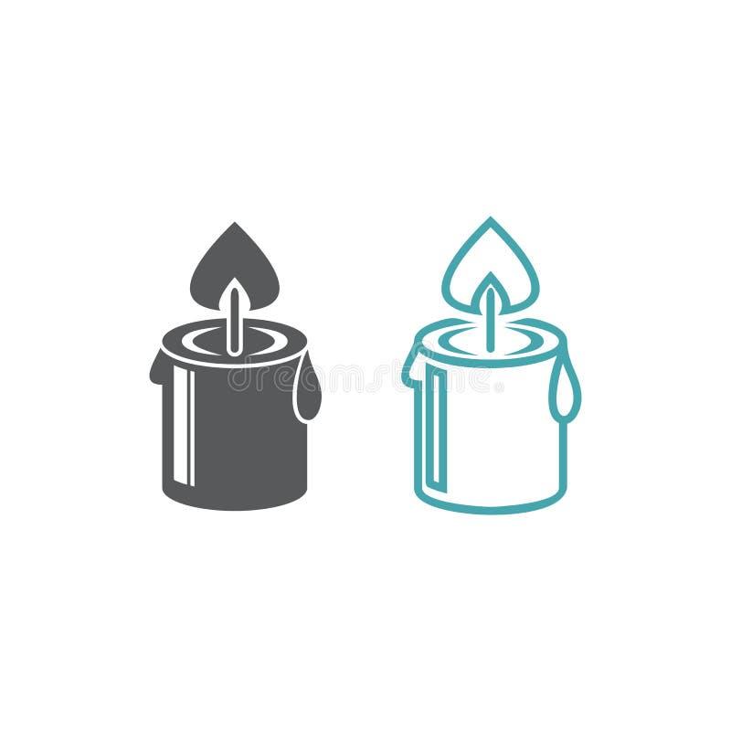 Vektorillustration av den brinnande stearinljuset vektor illustrationer