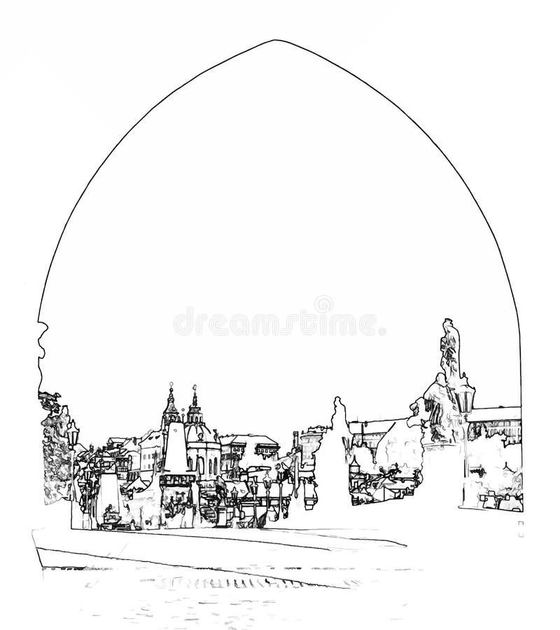Vektorillustration av den Charles bron i Prague royaltyfri fotografi