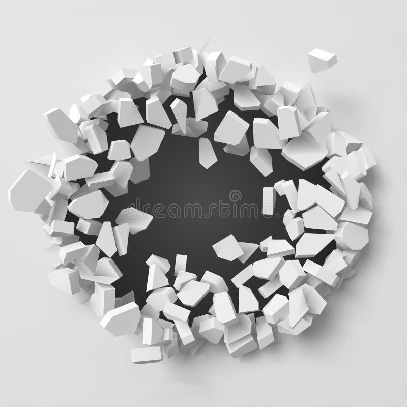 Vektorillustration av den exploderande väggen med fritt område på mitten för någon objekt eller bakgrund stock illustrationer