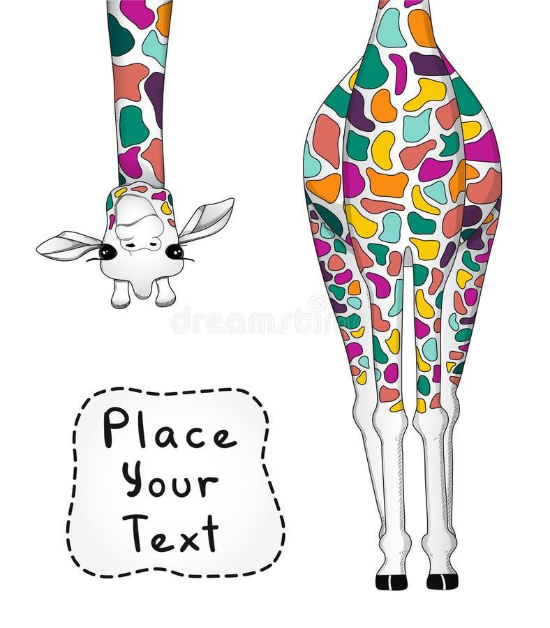 Vektorillustration av den färgrika giraffet med stället för din text stock illustrationer