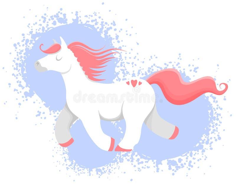 Vektorillustration av den färgrika hästen, enhörningen eller ponnyn vektor illustrationer