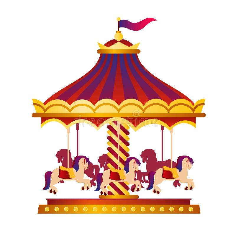 Vektorillustration av den färgrika och ljusa cirkuskarusellen, karusell med hästar, cirkusbegrepp i tecknad filmstil på royaltyfri illustrationer