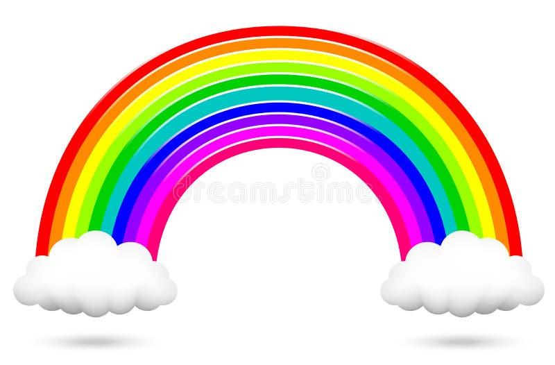 Färgrik regnbåge och moln vektor illustrationer