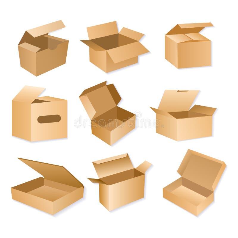 Vektorillustration av den förpackande asken för låda Realistiska bruna pappleveranspackar som isoleras på vit bakgrund vektor illustrationer