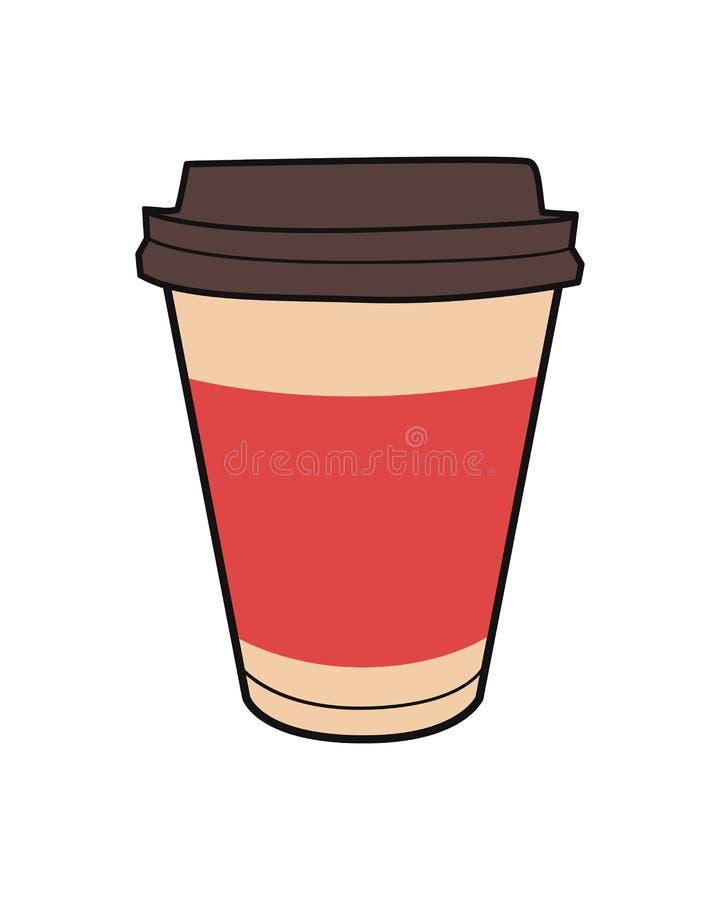 Vektorillustration av den f?r avh?mtning kaffekoppen Tappningsymbol f?r drink- och dryckmeny eller kaf?design vektor illustrationer