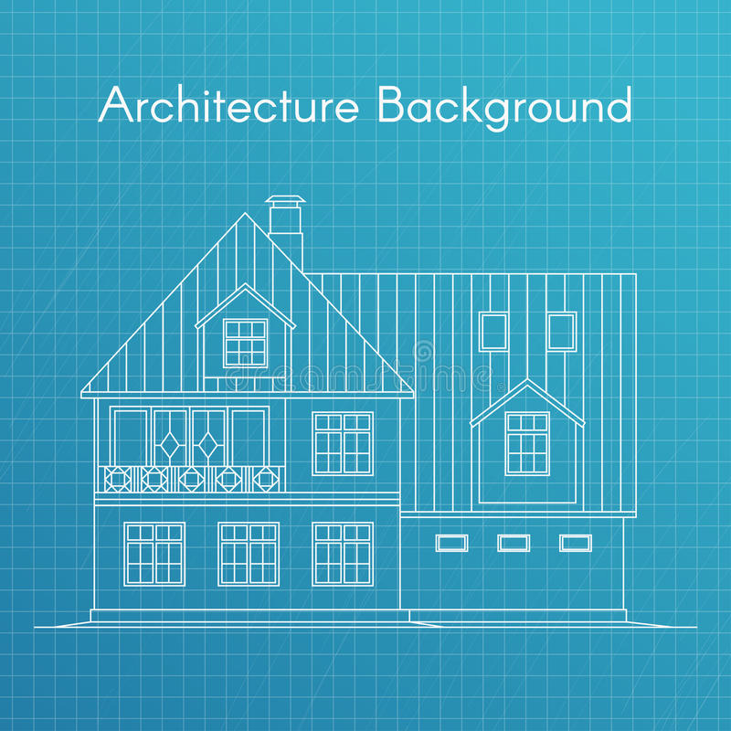 Vektorillustration av den familjhuset eller stugan ritningen för arkitektur 3d framför white vektor illustrationer
