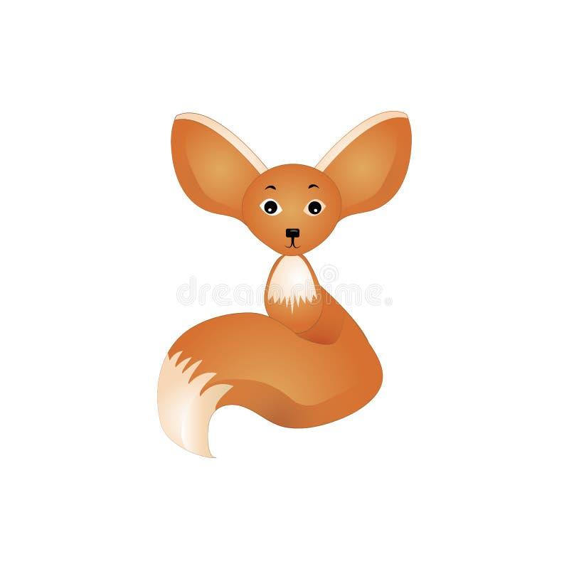 Vektorillustration av den Fennec räven som isoleras på vit bakgrund vektor illustrationer