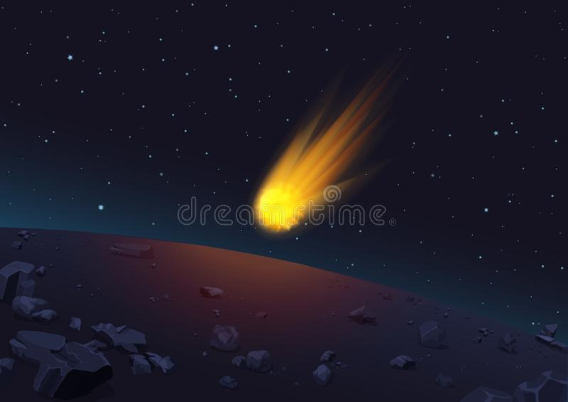 Vektorillustration av den glödande komet som faller till planeten i utrymme royaltyfri illustrationer